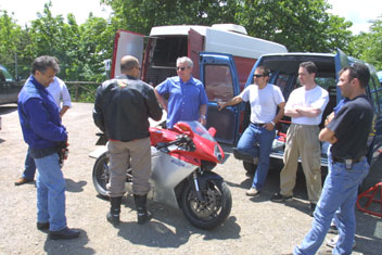 MV Agusta, Tamburini testing Marzocchi's in the hills